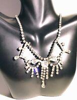 1950s Vintage Fringed Vintage Festoon Rhinestone Necklace