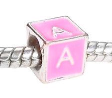 Alphabet Letter A Initial Pink Enamel Cube Bead fits European Charm Bracelets