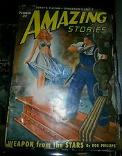 Amazing Stories PULP October 1950 See-Through Blouse Good Girl Cover
