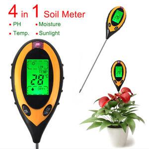 4 in 1 Soil Ph Tester Water Moisture LCD Test Meter Kit For Garden Plant Flower