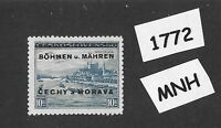 #1772    MNH 1939 Overprint stamp 10.00 KR BaM Protectorate / Third Reich era