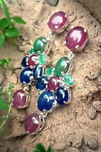 Solid 925 Silver Earring Ruby & Emerald Earring Diamond & Blue Sapphire Earring