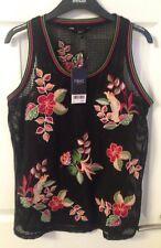 Señoras chaleco bordado floral negro siguiente-Talla 8-Bnwt