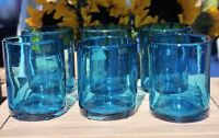 Set of 6 Hand Blown Mexican Glass Double Old Fashioned Rocks Glasses Aqua 12 oz
