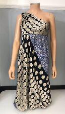 Tibi Womens Silk Midi Dress Size 6 High Waist Patterened One Shoulder