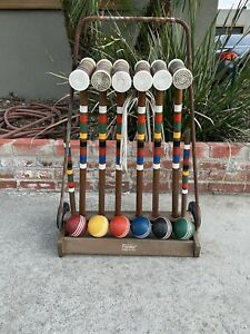 Vintage FORSTER Wooden 6 Player Croquet Set Wheeled Cart/Wickets/Balls/Mallets