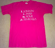 RARE LONDON PARIS TEMECULA Vintage 80's Adult Pink T-shirt, L 50/50 - USA - Cali