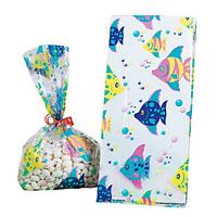 Pack of 12 - Tropical Fish Cellophane Bags Party Bags - Summer Beach Luau Sea