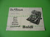 Alter Balda Kamera Prospekt um 1938 über die Baldi 3 x 4