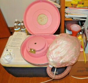 Vintage PORTABLE PINK HAIR DRYER & CASE cap bonnet 1960s works Sears