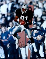 Tim Brown Signed Autographed 16X20 Photo Raiders Catch In Air JSA
