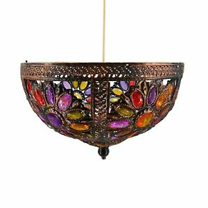 New antique Turkish Indian Stylish Multi colour Jewelled Up-lighter Lamp Shade