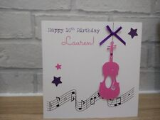 Handmade Personalised Male Female Fiddle Violin Musical Instrument Birthday Card