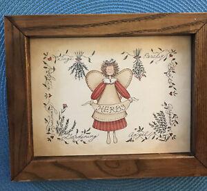 "Herbs Garden Angel Framed Picture, 9.5"" x 7.75"", No Glass"