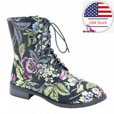 Brieten Women's Martin Boots Combat Leather Floral Low Heel Ankle Mid Calf Boots