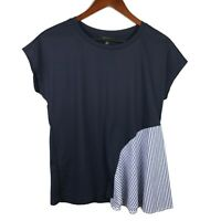 Banana Republic Blouse Size XS Blue Side Drape Culture Top Short Sleeve Shirt
