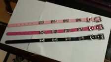 leather dog collars with rhinestone bone accents. $10.00 each. Size small.