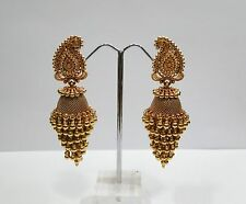 Vintage antique solid 22k Gold jewelry bells Earring Pair india