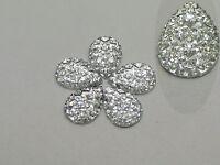 100 Clear Glitter Flatback Resin Teardrop Cabochon Pyramid Rhinestone 10X14mm