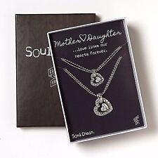 "Mother & Daughter Heart Necklace Set Soul Chain Necklace Set 16"" L Mother"