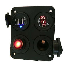 1*Auto Car Dual USB Charger + Voltmeter +12V Socket + Switch 4 Hole Panel Marine