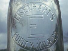 Rare 1935 clear embossed 1 quart Eisenhart's Purity milk bottle York, Pa.