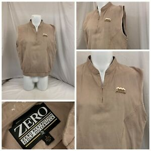 Zero Restriction Desert Mountain Vest L Women Tan Poly 1/4 Zip EUC YGI W0-92