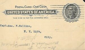U.S. 1901 Jefferson 1c Black #UX14 Stationary Postcard, NY Life /Mil  SEE SCANS!
