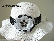 Girls Spring Easter Bonnet Black White Flower Swarovski Crystal Floppy Straw Hat