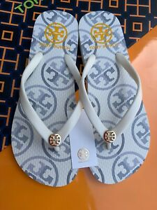 NWT Tory Burch PVC Flip Flop Flops Thong Sandals Ivory Mixed Logo MANY SIZES