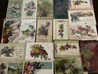 Pretty ~Lot of 19 Lilac Purple Lilacs Flowers~ Vintage Greetings Postcards-b998