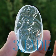 Natural Clear Rock Crystal Quartz Mermaid Pendant / Necklace