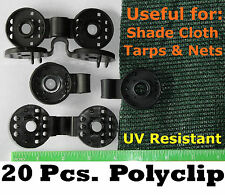 20 POLYCLIPS INSTANT GROMMET SHADE CLOTH PRIVACY SCREEN TARP REPAIR  POULTRY NET