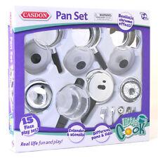 Casdon Pots and Pan Set Cooking Colander Chrome Silver Little Cook Kitchen Play