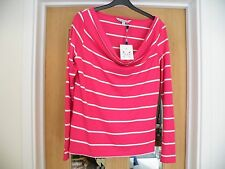 Cotton Blend Striped Cowl Neck Tops & Shirts for Women