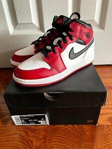 Nike Jordan 1 Mid Chicago White Heel GS 5y 6.5W 554275-173 554725-173 Gym Red