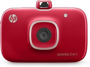 HP Sprocket 2-in-1 Portable Photo Printer & Camera Red w/ 8GB SD Card & Paper