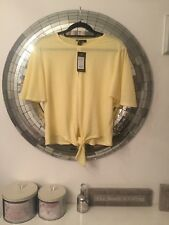 NEW LOOK Pale Yellow Going Out Top With Tie Bubble Hem Size 18 BNWT