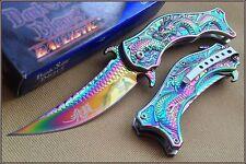 Couteau Mandarin Dragons Rainbow Lame Acier 440 Manche Métal Dark Side DSA019RB