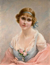Art Oil painting Leighton, Edmund Blair beautiful young girl with roses on Chest