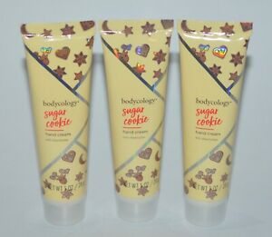 3 NEW BODYCOLOGY SUGAR COOKIE SHEA BUTTER HAND CREAM LOTION 1 OZ TRAVEL SIZE