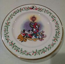 "Lenox Holiday Plate Mickey Mouse A Carolin We Go  8"" NWT Gold Trim Disney  RW4"