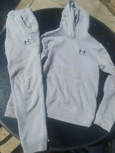 Boys Under Armour Tracksuit Joggers Hoodie Youth M YMD 10-12 Years Grey