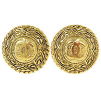 Authentic CHANEL CC Logo Earrings Clip-On Gold-Tone France Accessory 66ER789