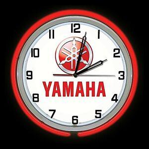 "19"" Yamaha Sign Red Double Neon Clock Motorcycle ATV Jet Ski UTV Dirt Bike"