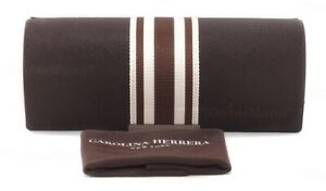 NEW CAROLINA HERRERA RECTANGULAR SUNGLASSES EYEGLASSES BROWN HARD CASE