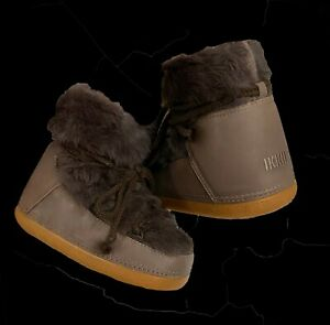 Ikkii Boots Women Booties Shoes Brown Fur Lace Up Winter Fashion Snow Ankle Boot