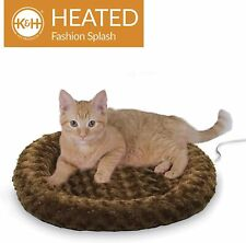 """New listing Pre-Owned K&H Pet Products Thermo-Kitty Heated Pet Bed, Mocha 4W Small 18"""" Round"""
