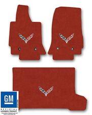 Chevrolet Corvette C7 Carpet Floor Mat 3pc Set with C7 Flags Logo-Adrenaline Red