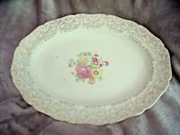 "Vintage CANONSBURG POTTERY LAJEAN FLORAL PLATTER Gold Trim 13 3/4"" Oval PLATE"